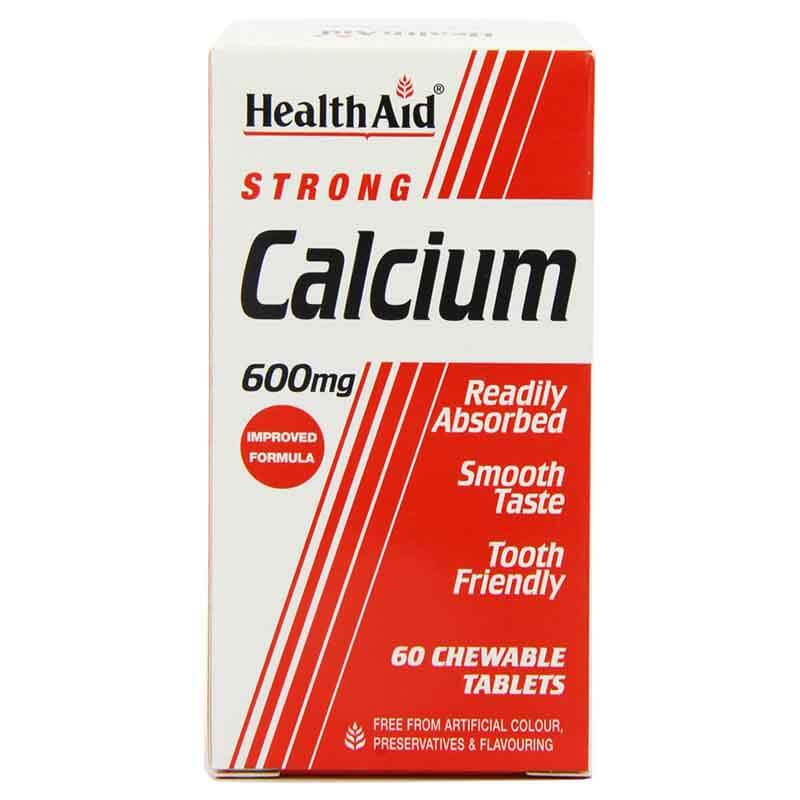 health aid Strong Calcium 600mg, Chewable 60tabs Δισκία για τον έλεγχο του νευρικού συστήματος Healthspot Overespa
